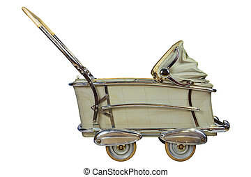 Retro baby pram isolated on white - Side view of a vintage...