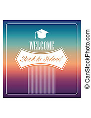 Retro back to school text colorful background.