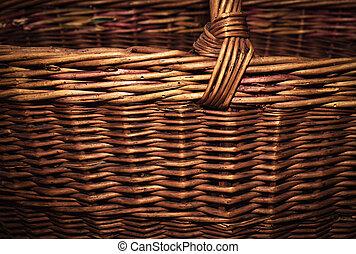 detail of an old wicker basket