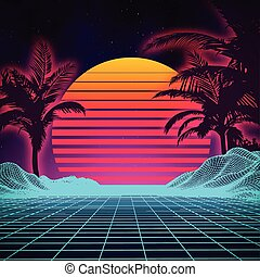 Retro background futuristic landscape 1980s style. Digital retro landscape cyber surface. 80s party background . Retro 80s fashion Sci-Fi Background Summer .