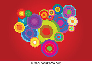 Retro Background - Retro Psychedelic Disco Circles...