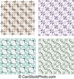 Retro background set with abstract design elements vector background