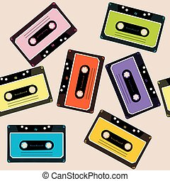 Retro background with audio cassettes