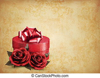 Retro background with beautiful red roses and gift box. Vector illustration.