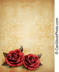 Retro background with beautiful red roses with buds. Vector illustration.