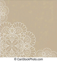 Retro background with lace ornament and space for your text. Template frame design for card.