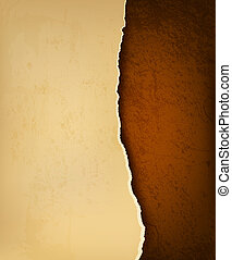 Retro background with old ripped paper and brown leather. ...