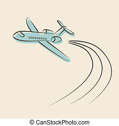 retro background with plane - vector illustration