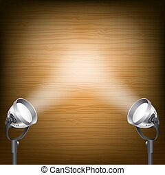 retro background with spot lights - retro wooden background...