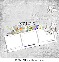 retro background with stamp-frame, diamonds, text love, flowers and butterfly