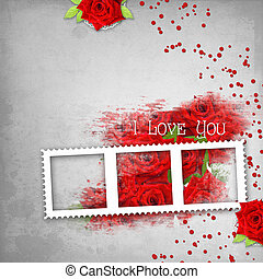 retro background with stamp-frame, hearts, text I love you, red roses