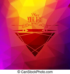Retro background with triangular polygons and mustache. Colorful mosaic of triangle with place for your text.