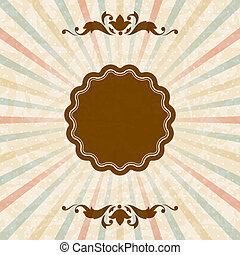Retro background with vintage floral ornate frame. - Picture...
