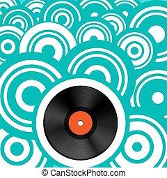 Retro Background with Vinyl Record LP. Vector Vintage Backdrop.