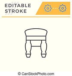 Retro backless stool line icon isolated on white. Editable stroke. Vector illustration