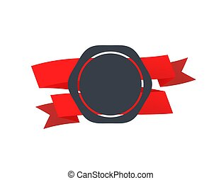 Retro badge with red tape on white