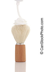 Retro badger shaving brush with a dollop of shaving cream