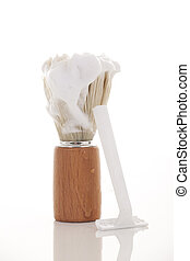 shaving cream - Retro badger shaving brush with a dollop of...