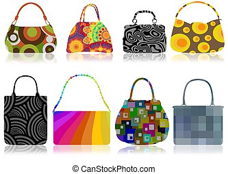 Retro bags - Illustration of 8 retro patterned bags