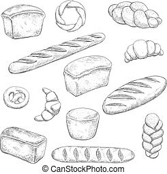 Retro bakery and pastry sketches