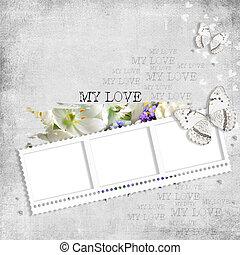 retro, bakgrund, med, stamp-frame, blomningen, och, fjäril