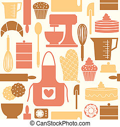 Seamless pattern in retro style with kitchen and baking items.