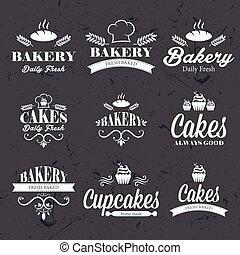 retro, bakkerij, etiketten, ouderwetse , chalkboard