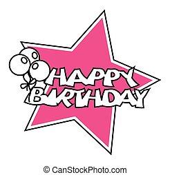 retro, balões, aniversário, estrela, bandeira
