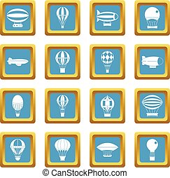 Retro balloons aircraft icons azure