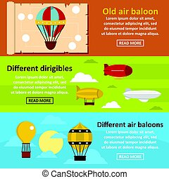 Retro balloons banner horizontal set, flat style