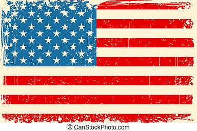 retro, bandera estadounidense