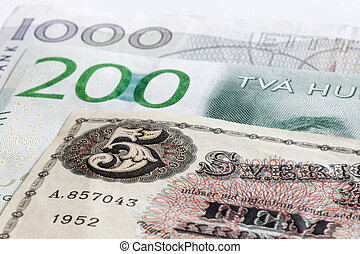 Retro bank notes 5, 200 and 1000 SEK swedish currency. They...