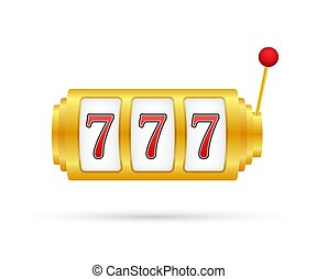 Retro banner for game background design. Winner banner. Slot machine with lucky sevens jackpot. Vector stock illustration.