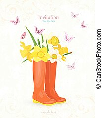 retro banner with bouquet of daffodils in rubber boots for your