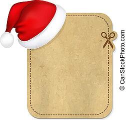 Retro Banner With Cap Of Santa Claus