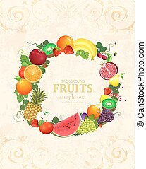retro banner with circle frame of fresh fruits and berries for y