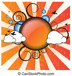 Retro Banner With Clouds - Retro Banner With Sun Clouds and...