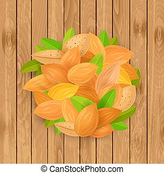 retro banner with fresh almonds on wooden background for your de