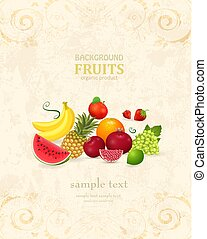 retro banner with fresh fruits and berries for your design