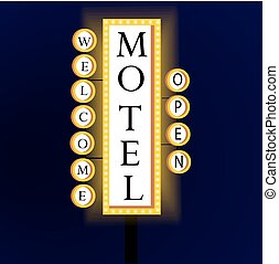 Retro banner with glowing lights motel and welcome.