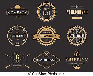 Retro banners and labels for company logotype - Retro or...