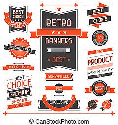 retro, banners., ensemble, de, étiquettes, et, stickers.