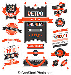 retro, banners., sätta, av, etiketter, och, stickers.