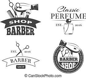 Retro barber shop vector label set