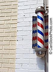 retro, barberaren shoppar, pol