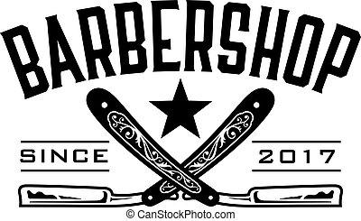Retro Barbershop Logo - Vector design barbershop emblem with...
