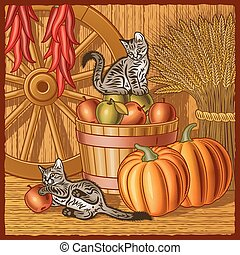 Kittens play in a barn with harvest. Vector illustration in woodcut style with clipping mask.