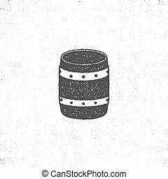 retro barrel icon. Isolated on white background barrel symbol. Vintage silhouette design. Stock vector barrel pictogram