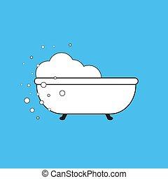 Retro bath icon isolated on white background. Vector art 10