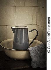 Retro Bathroom - Jug and Basin - Enamel wash basin and jug...